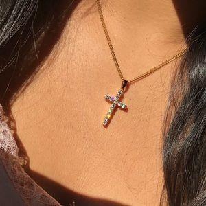 Jewelry - Gold CZ Diamond Cross Necklace
